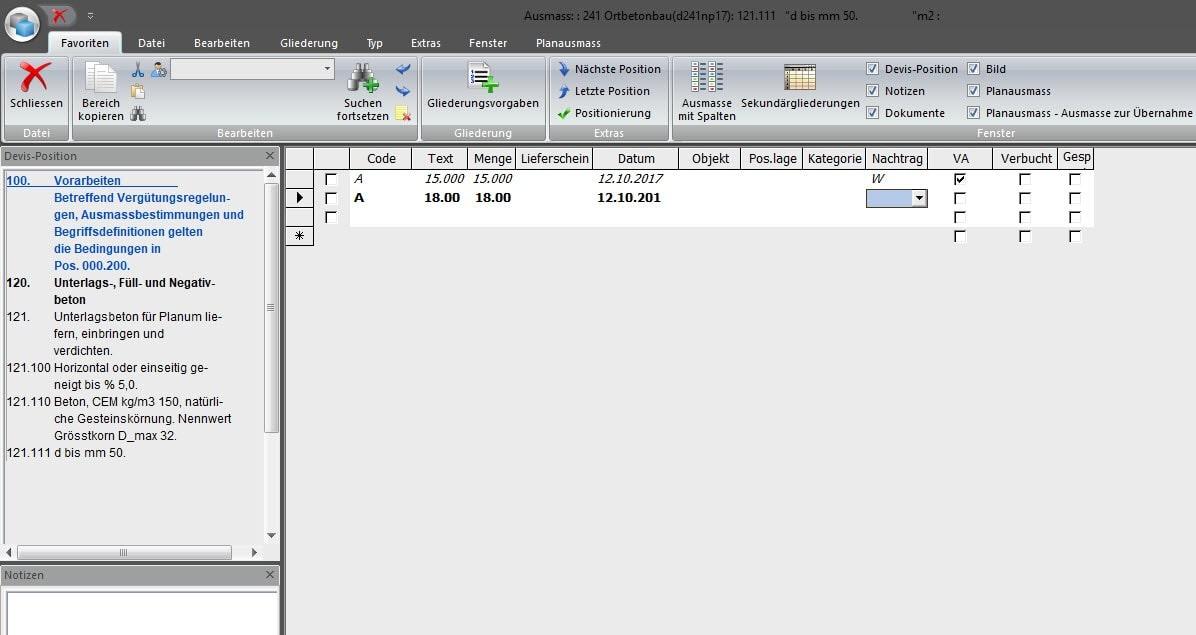 Screenshot Software Ausmassfenster