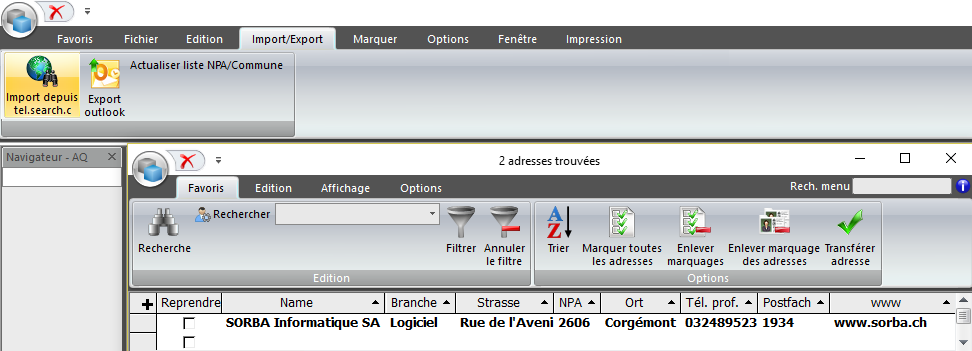 Screenshot import d'adresse dans logiciel SORBA