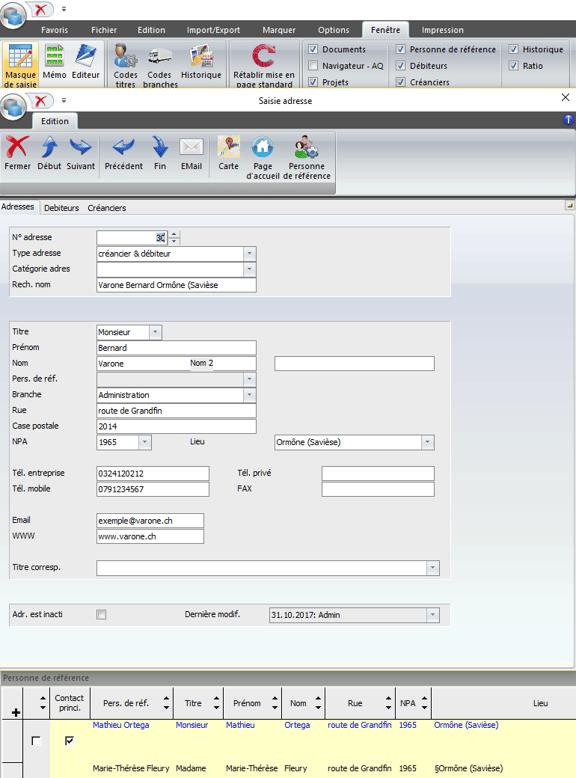 Screenshot saisie d'adresses dans le logiciel SORBA