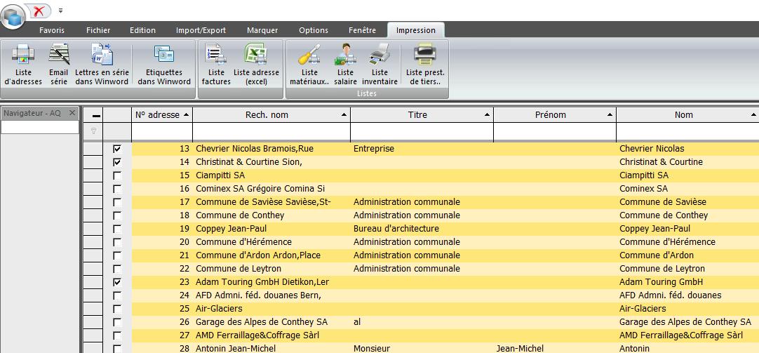 Screenshot Lettre de série, listes et aperçus