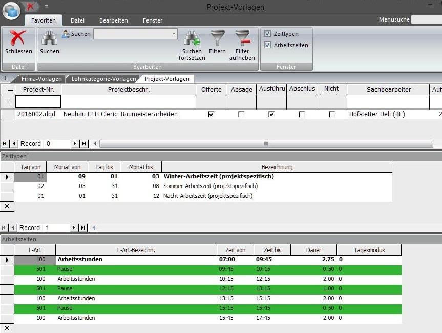 Screenshot Arbeitszeiten und Projektvorlagen