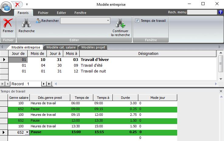 Screenshot modèle entreprise saisie des heures