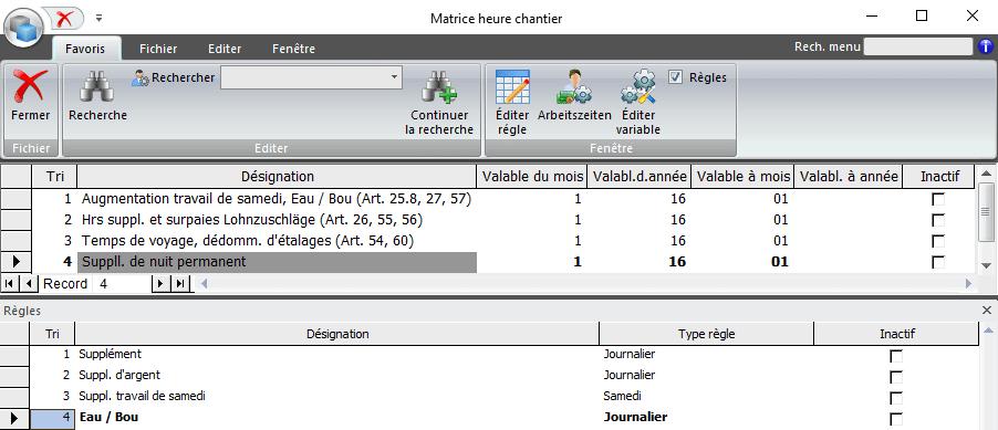 Screenshot matrice heures de chantier