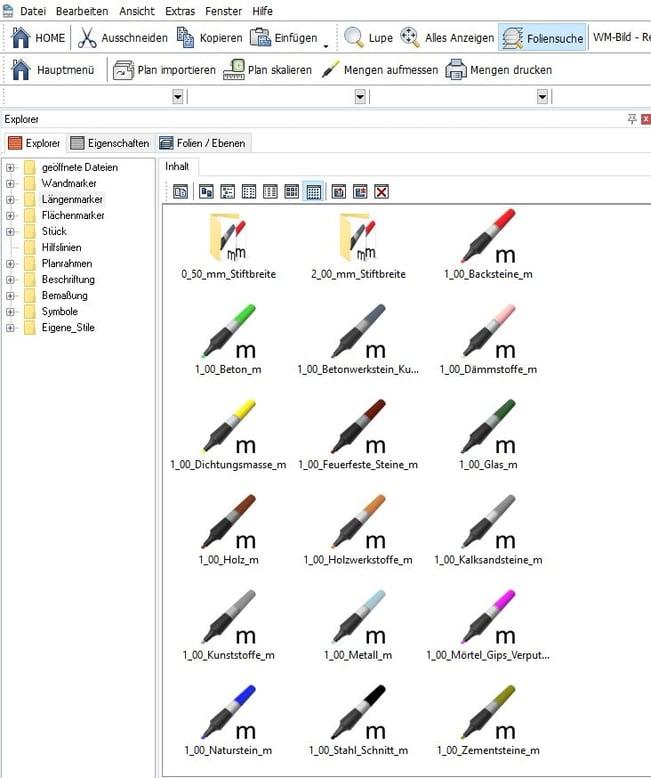 Screenshot Software Ausmass Stifte