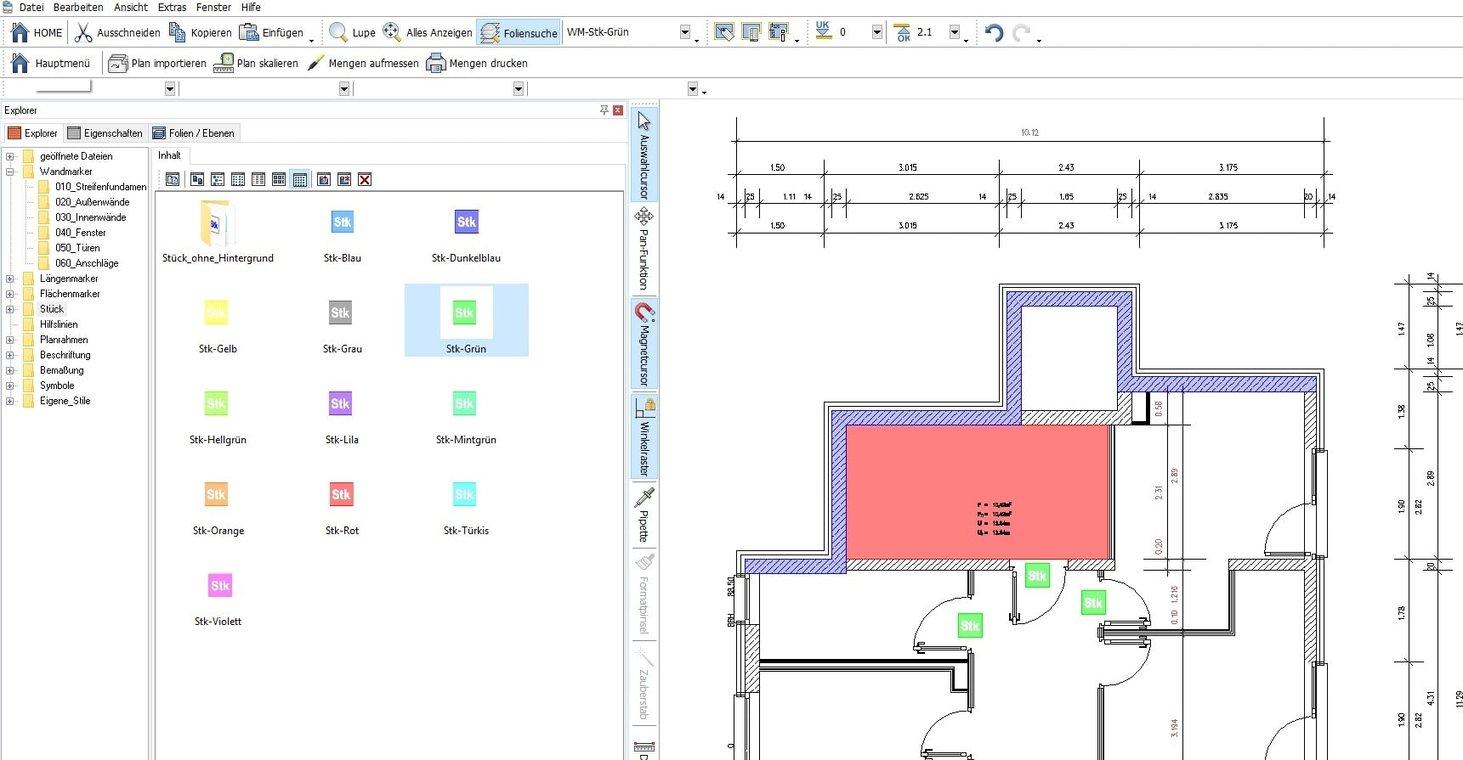 Screenshot Software Ausmass Datenüberischt und Pläne