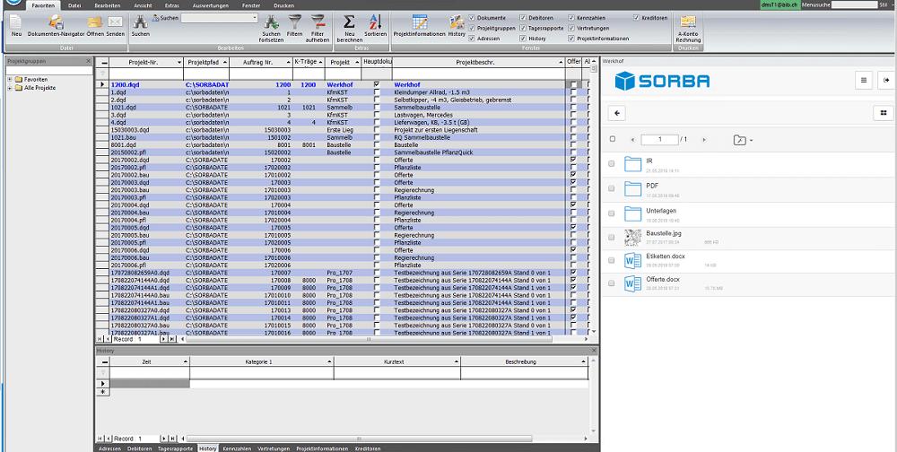 Screenshot aus der Software, rechts die DMS Ablage