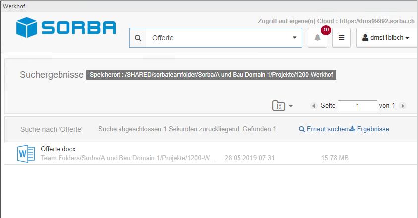 Screenshot DMS Suche