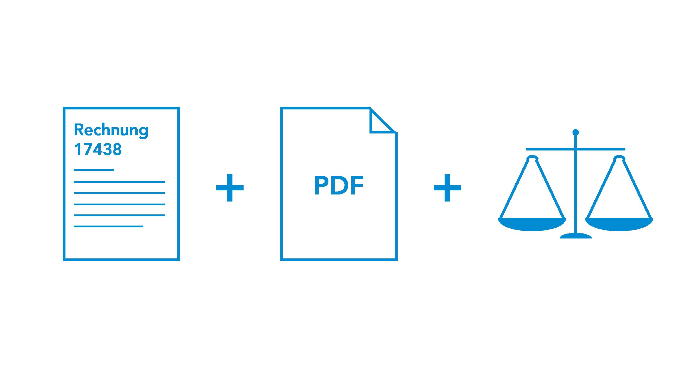 Rechnung, PDF Dokument und Waage