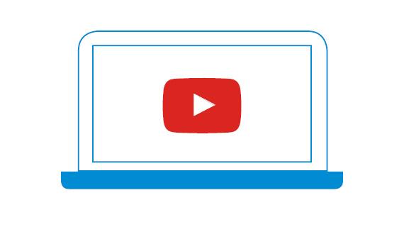 Grafik Laptop mit Youtube-Symbol