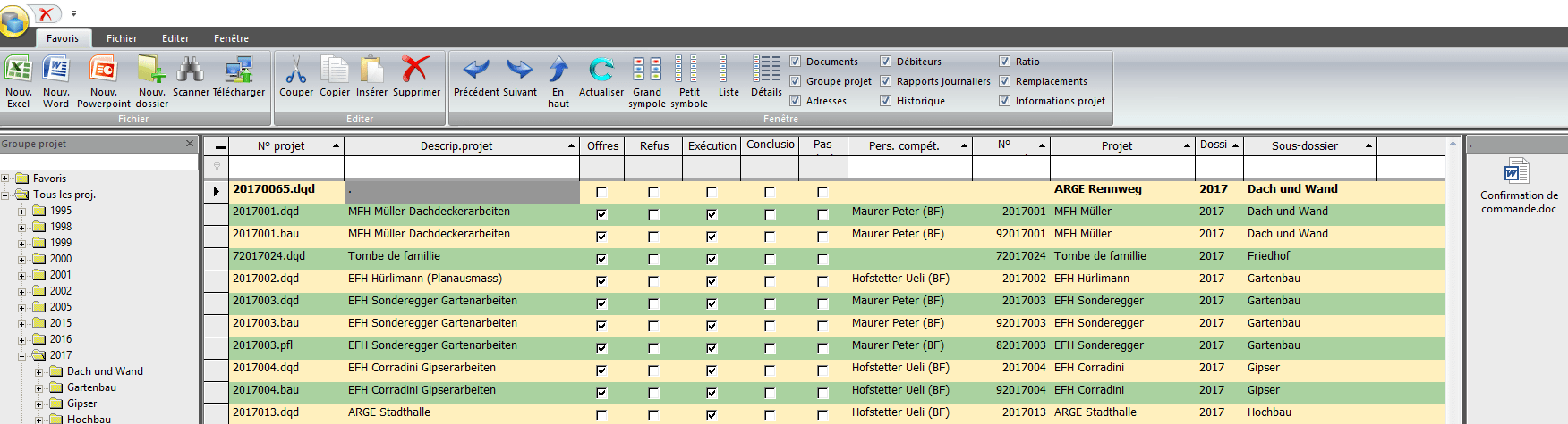 Screenshot classement automatique documents logiciel