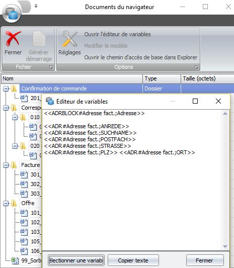 Screenshot créer modèle de document dans le logiciel