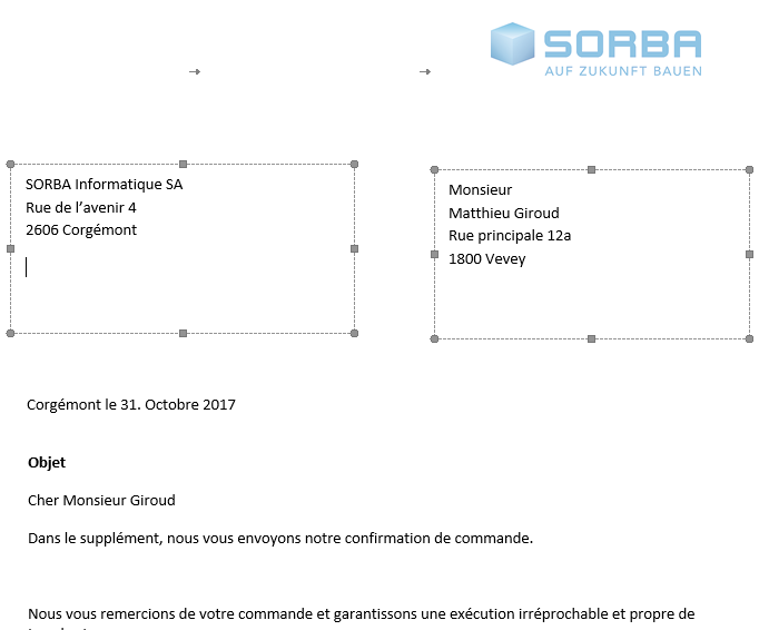 Screenshot modèles documents