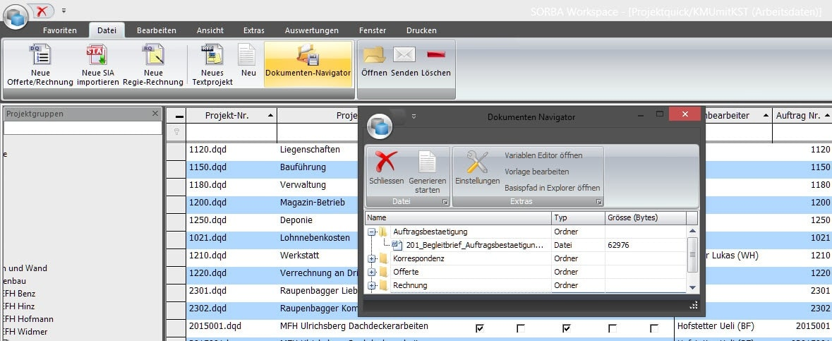 Screenshot Software Dokumentenverwaltung