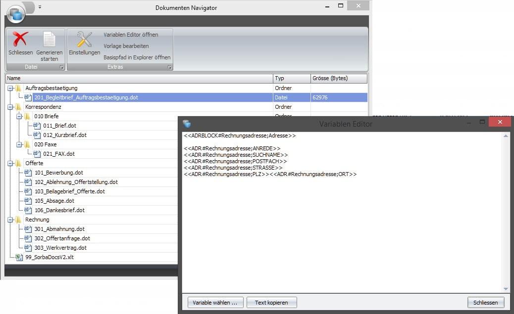 Screenshot Software Vorlagen erstellen