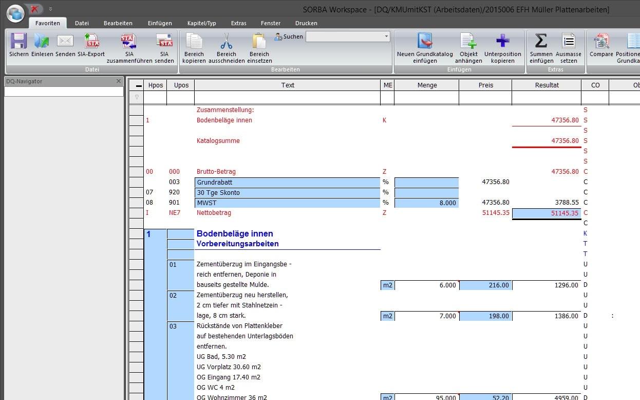Screenshot Software Eigentext Devis