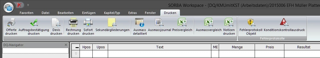 Screenshot Software Eigentext Devisierung
