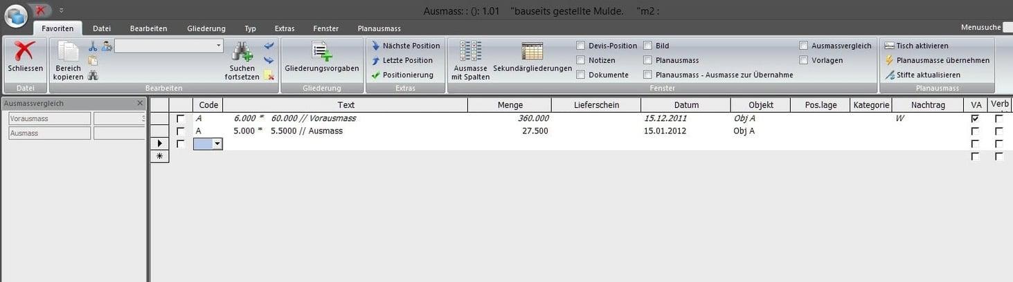 Screenshot Software Ausmass Erfassen