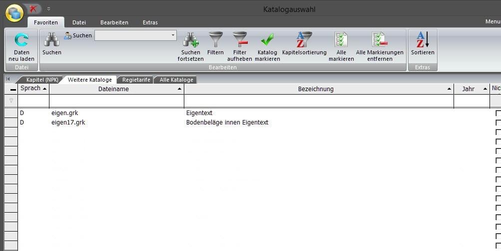 Screenshot Software eigene Grundkataloge erstellen