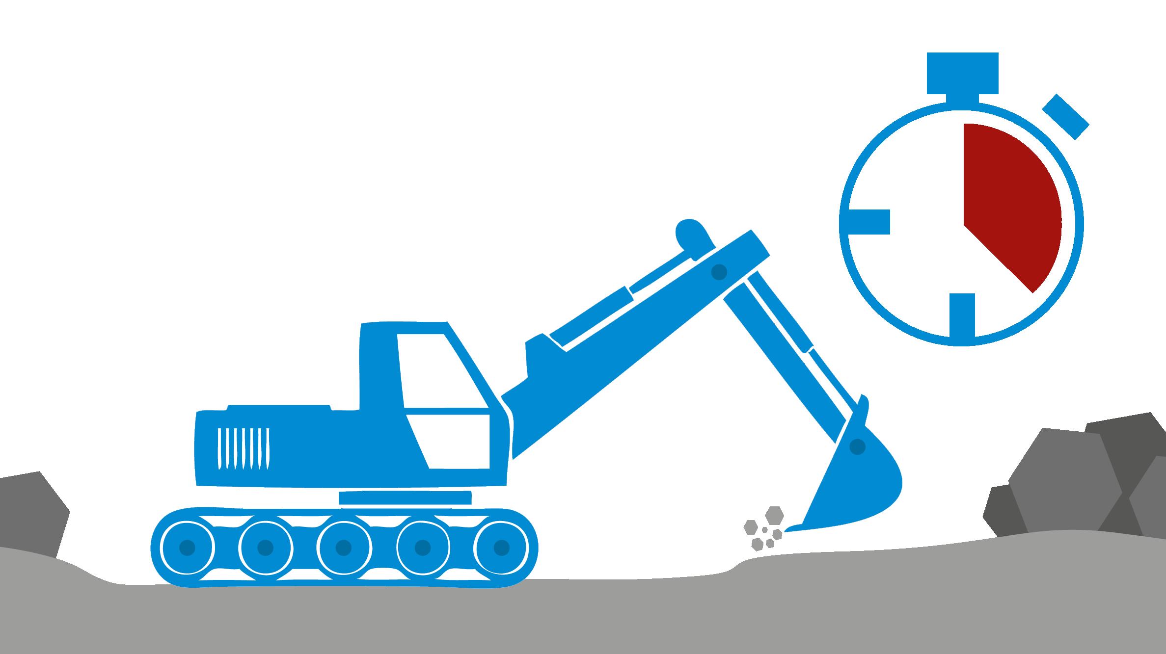 Bagger auf der Baustelle mit Stoppuhr