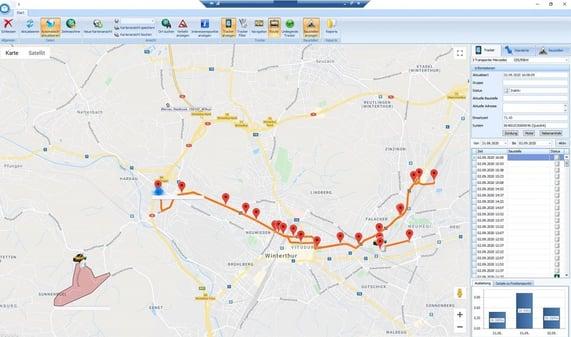 Screenshot Software GPS Karte mit Fahrweg