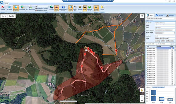 Screenshot Software Karte mit GPS Route und Baustelle