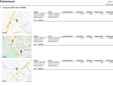 Fahrtenbuch Screenshot Übersicht
