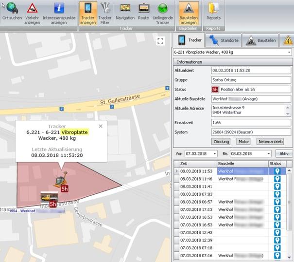 Screenshot Tracker Baustellenübersicht