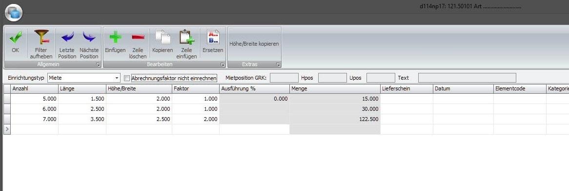 Screenshot Software Gerüstbau Abrechnung