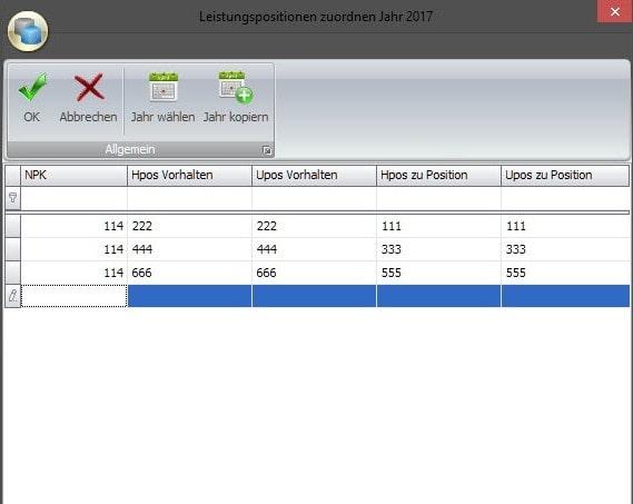Screenshot Software Leistungspositionen