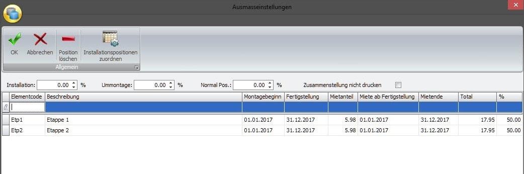 Screenshot Software Ausmasseinstellung