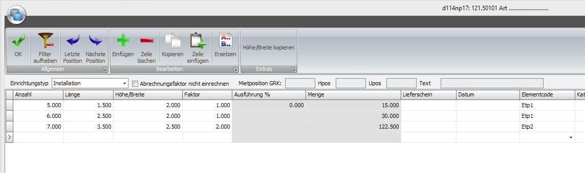 Screenshot Software Gerüstbau Installationsaufwand