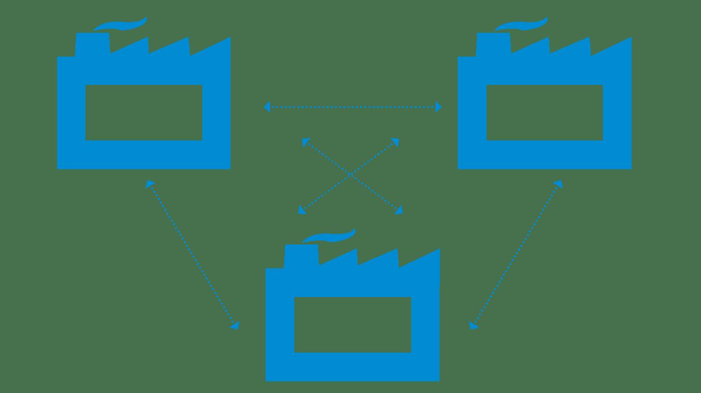 Icône trois entreprises connectées
