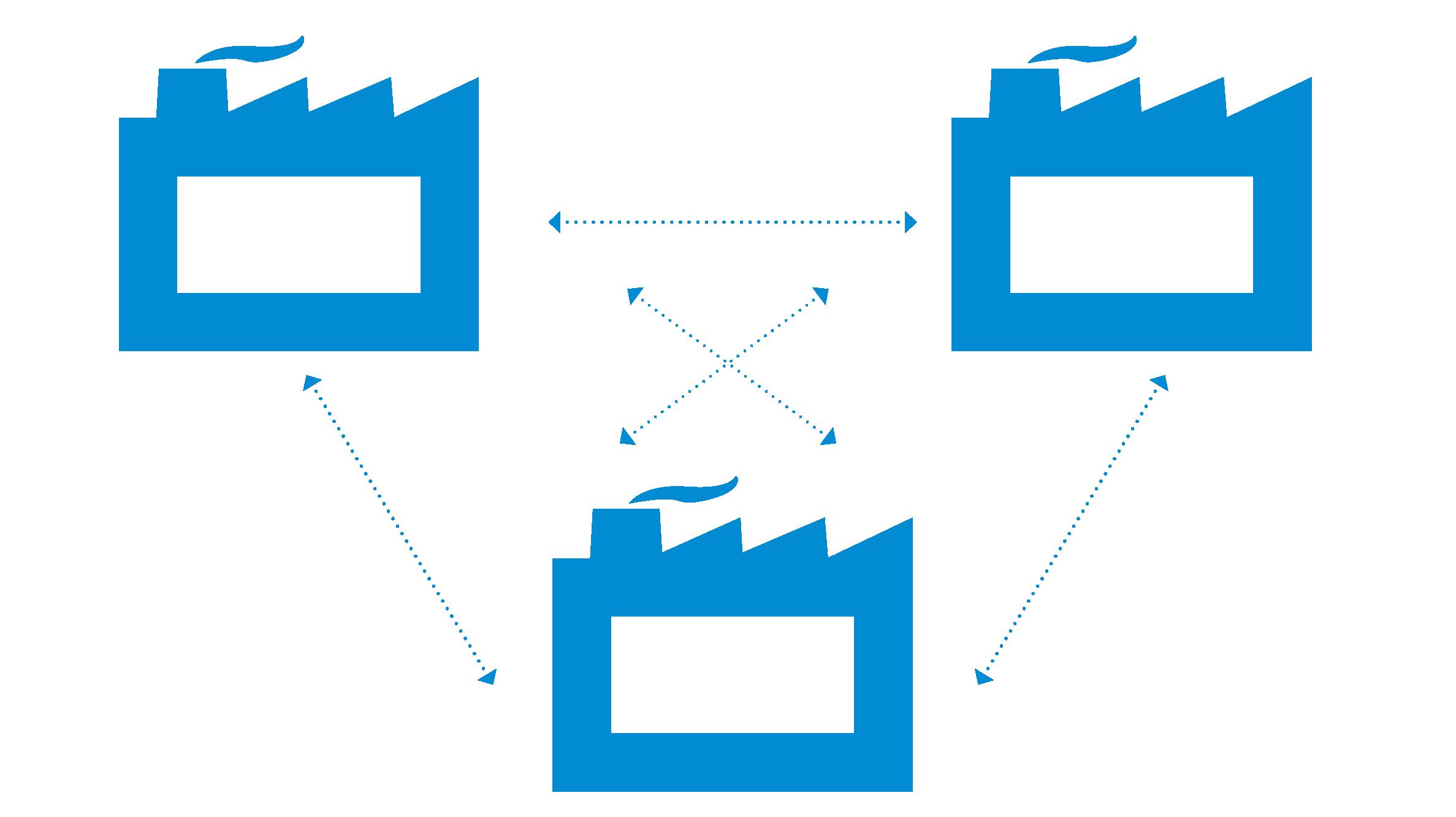 Icon drei Unternehmen, die mit Pfeilen verbunden sind