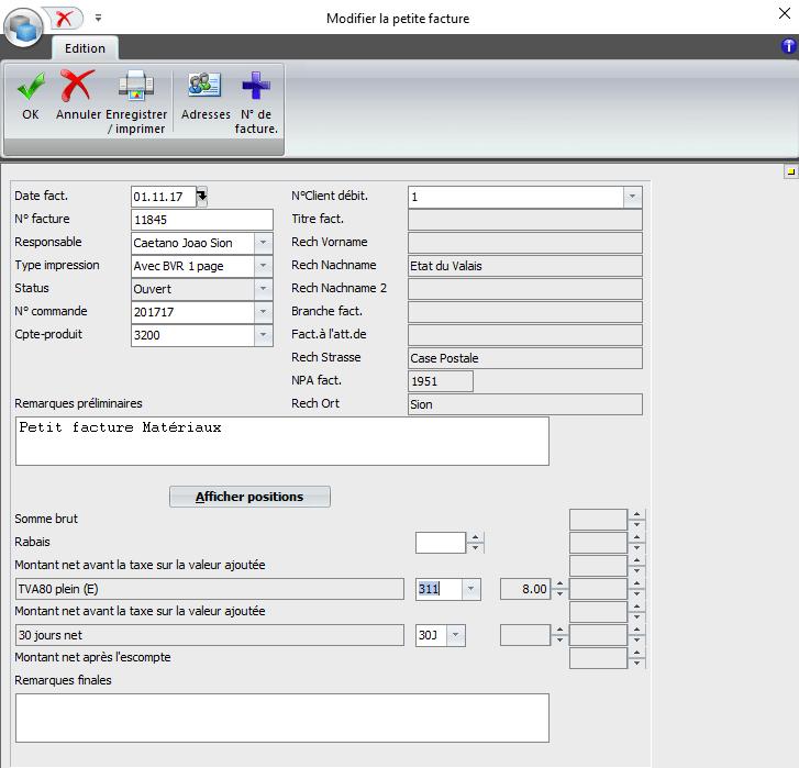 Screenshot logiciel modifier petite facture