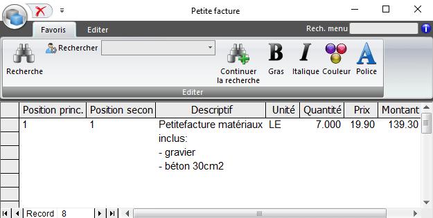 Screenshot logiciel petites factures propre texte
