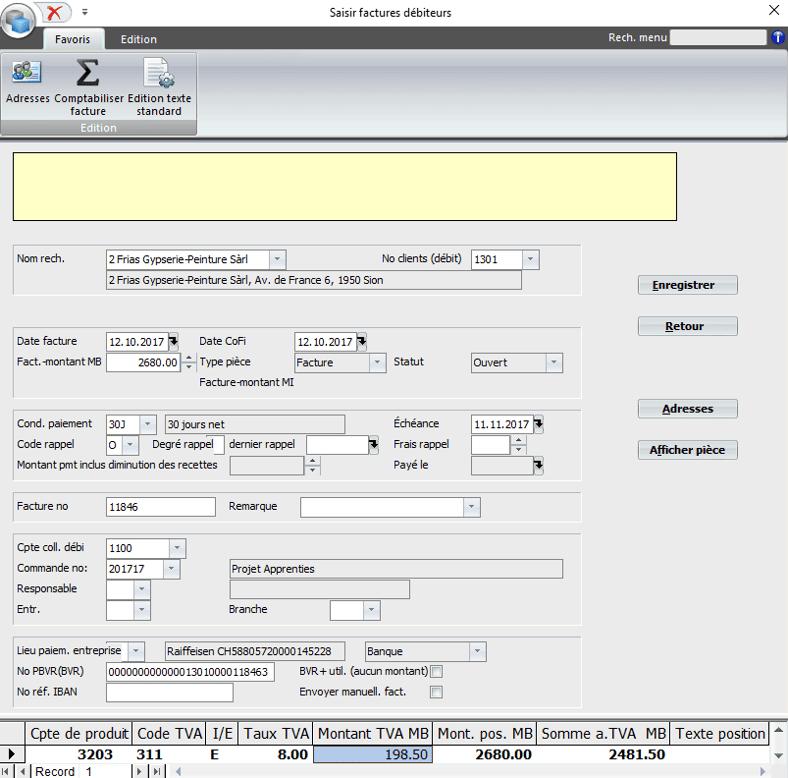 Screenshot logiciel saisie facture débiteur