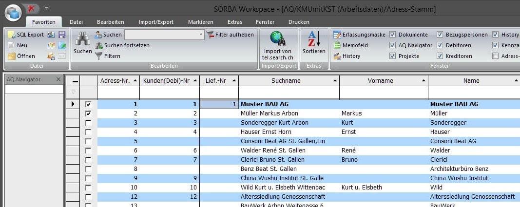Screenshot Software Kleinrechnungen Stammdaten