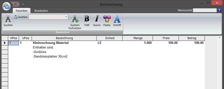 Screenshot Software Kleinrechnung Eigentext