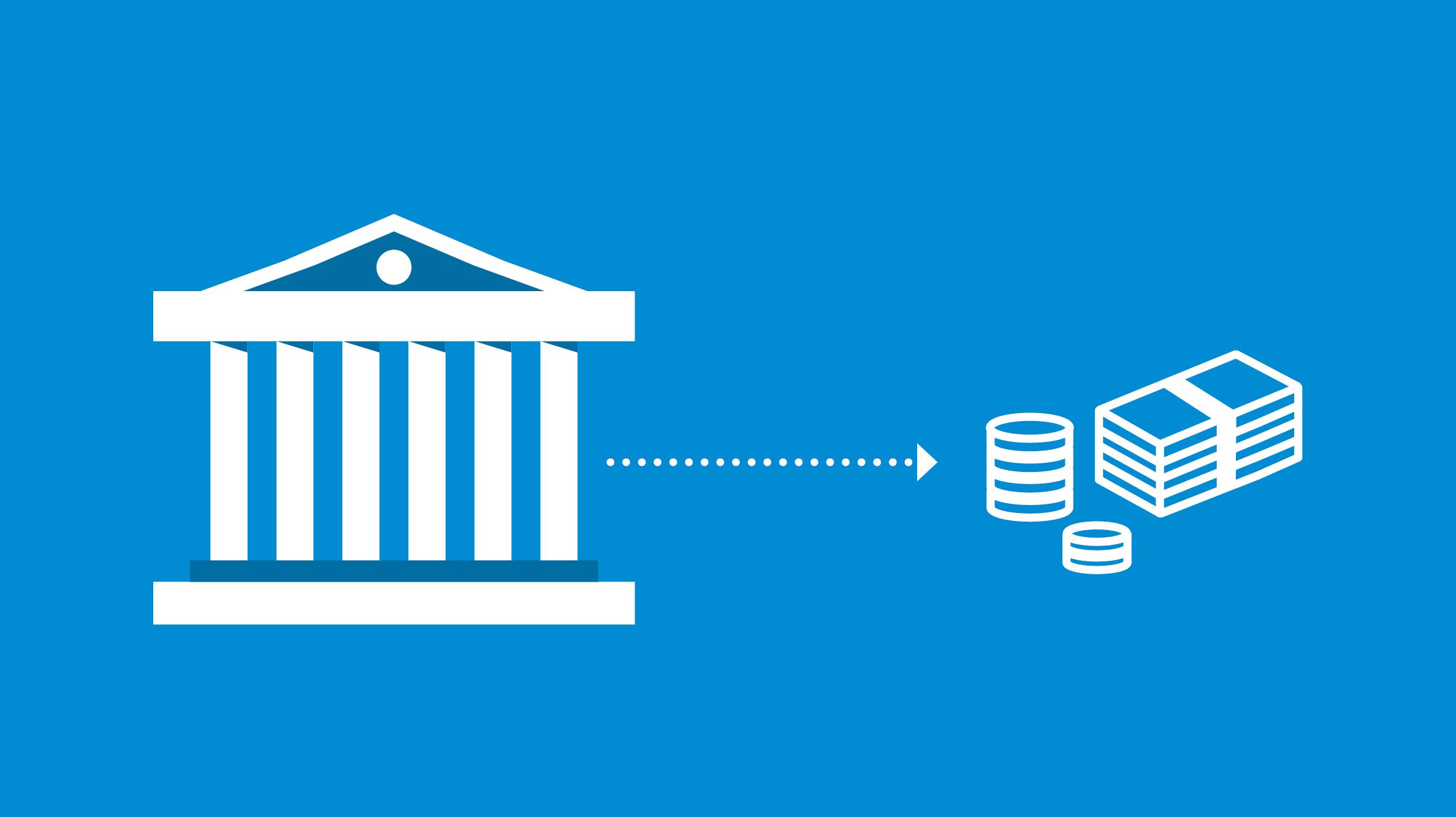 Icon Bank mit Pfleil zu Geldscheine - Kreditorenbuchhaltung