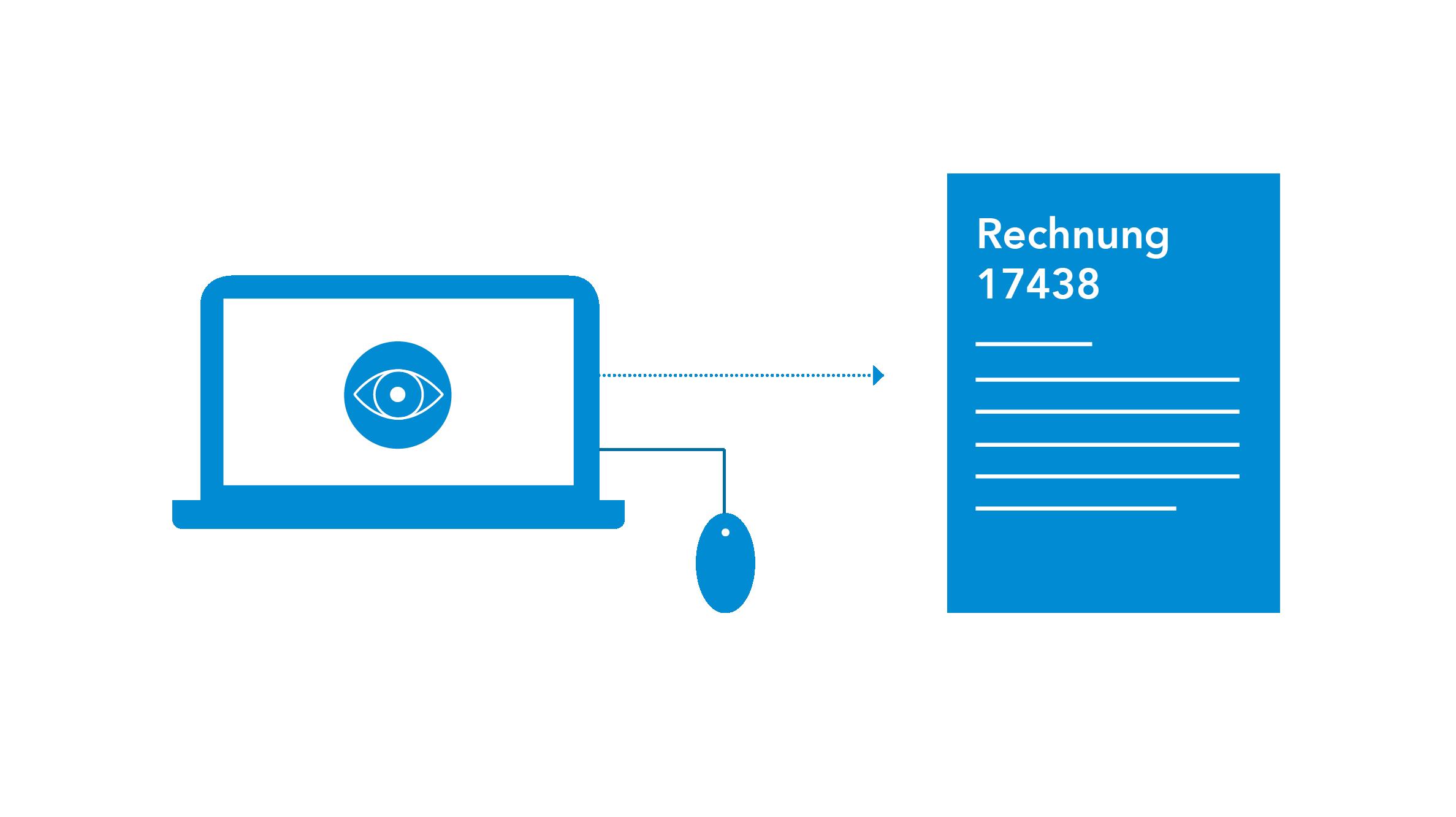 Icon Computer mit Pfeil zur einer Rechnung - Kreditorenbuchhaltung