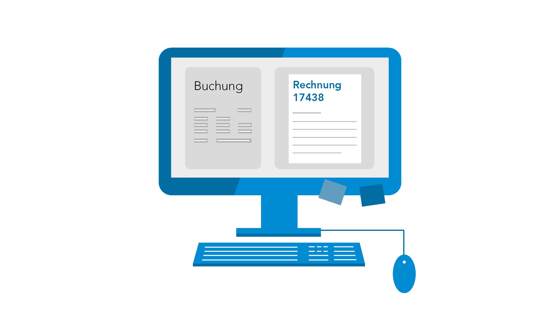 Icon Computer mit Buchung und Rechnung - Kreditorenbuchhaltung