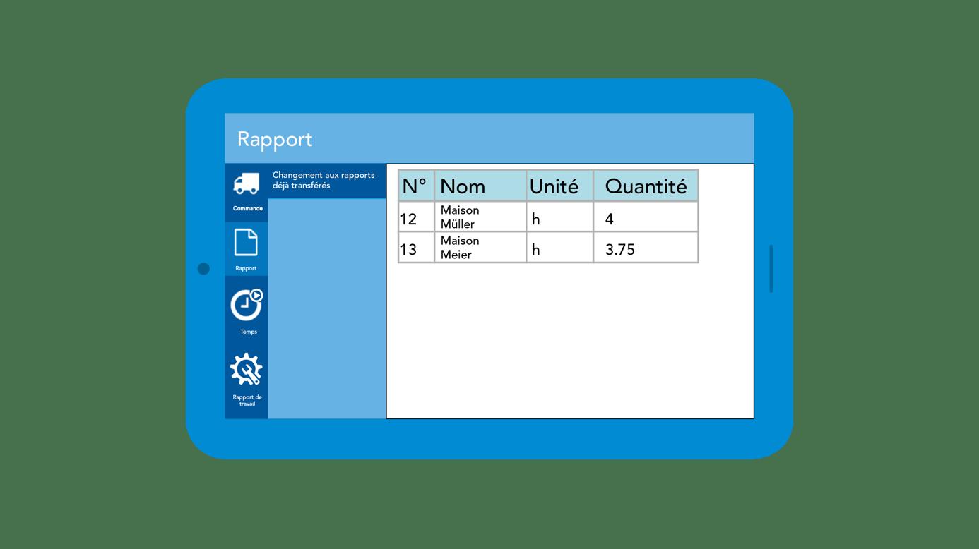 Capture d'écran Disposition App Rapport