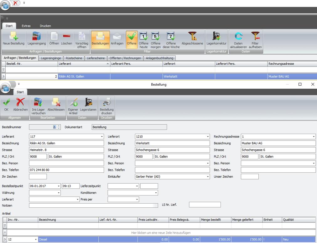 Screenshot Lagerverwaltungssoftware Bestellung