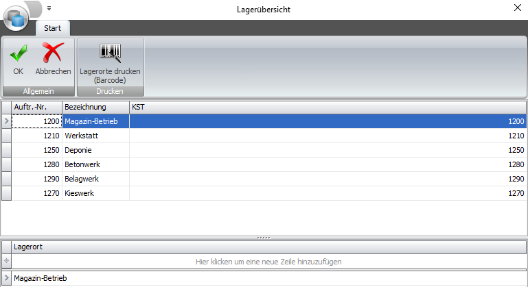 Screenshot Software Lagerübersicht