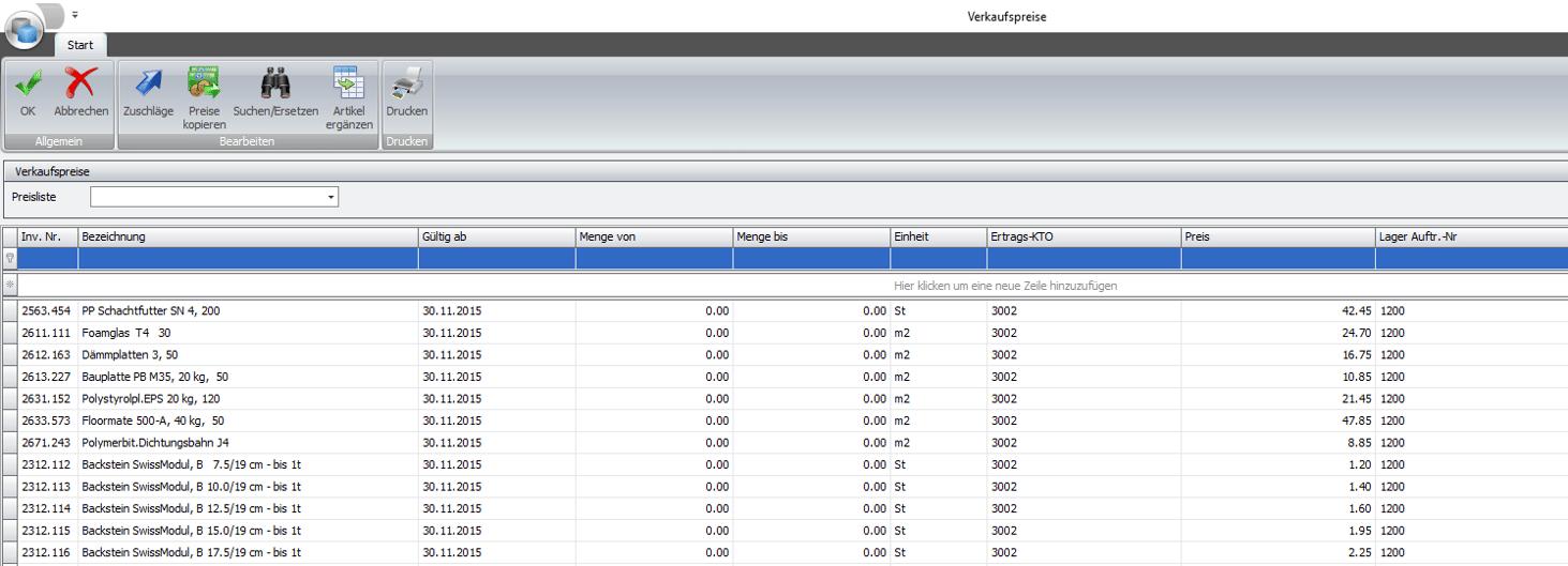 Screenshot Verkaufspreise