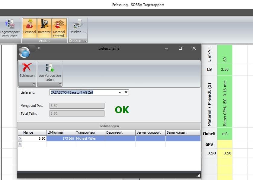 Screenshot Kontrolle Lieferscheine