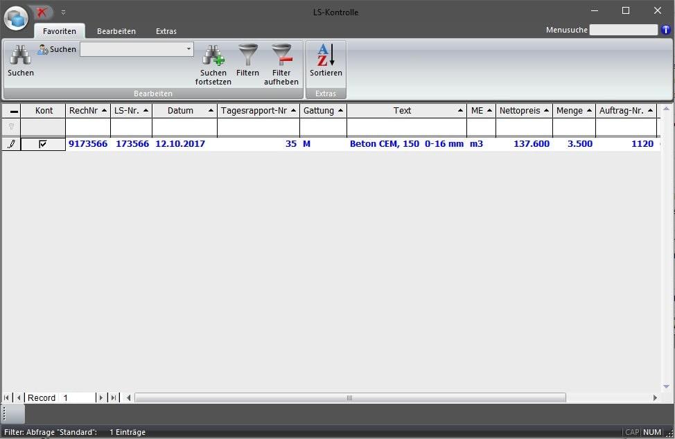 Screenshot Übersicht Lieferscheinkontrolle