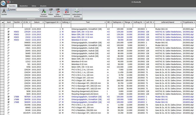 Screenshot Lieferungsübersichten