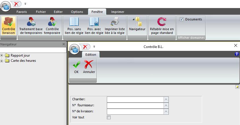 Screenshot contrôle des livraisons