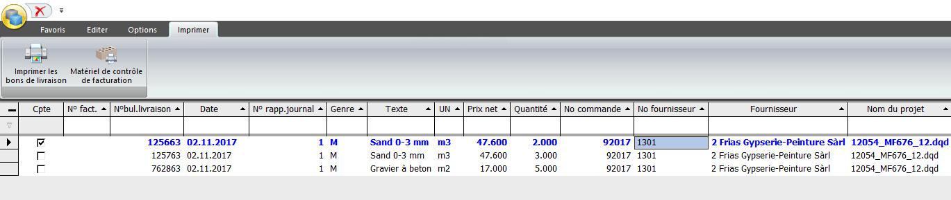 Screenshot imprimer les bons de livraison